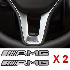 Hot 2 PCS Alloy ALUMINIUM AMG Steering Wheel Sticker Badge Logo Emblem