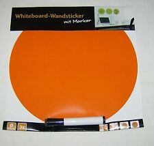 Whiteboard Wandsticker 3 Stk. mit Marker Orange