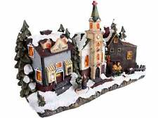 Christmas Village Scene Decorations Church Lights Illuminated Xmas Decor Festive