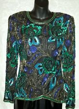 SCALA vtg Sequin Beads Black Silk Art to Wear trophy Blouse Sz S New Years Eve