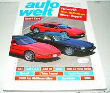 auto welt, Jubil. 1990,  Ferrari F40, Riva - Rolls-Royce, Miura - Bugatti  u.a.