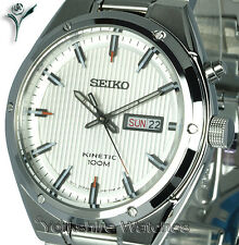 New SEIKO KINETIC SILK WHITE FACE DAY DATE & STAINLESS STEEL BRACELET SMY147P1