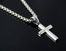 New Women Men Stainless Steel Silver Box Link Chain Necklace Plain Cross Pendant