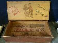 Antique Vintage Pine 1930's Whisky Advertising Writing Box Teacher Stationery