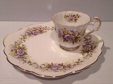 VTG Elizabethan Bone China BLUE FLOWER Pattern Tea Cup & Snack Plate Set