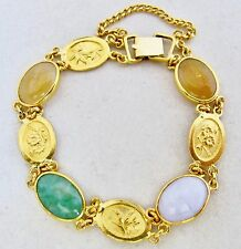 "Chinese 22K or 24K Yellow Gold Bracelet w/ Multicolored Jadeite Jade (24g, 6.8"")"