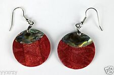 "Abalone Shell Earring Red Wood 1"" Dangle Hook Round Earrings"