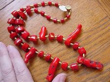"""(v21) Red coral Beads with natural branches GEM beaded 21"""" long Necklace JEWELRY"""