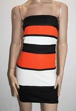 AX Paris Designer Orange Black Stripe Strapless Dress Size 10-S BNWT #TA101