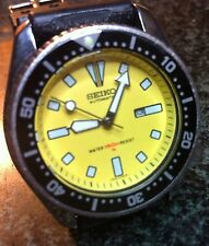 SEIKO DIVERS 4205-0152 AUTO 17J DATE SS 15 BAR YELLOW FACE, BLACK BEZEL