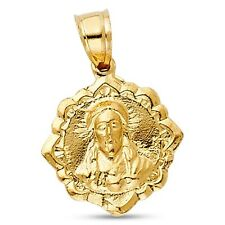 Jesus Double Sided Pendant Solid 14k Yellow Gold Face Of Christ Charm Medallion