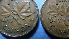 RARE COINS  1947 CANADA With MAPLE LEAF, KING GEORGE VI ONE CENT COINS,   RARE