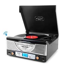 New Classic PTR8UBTBK Retro Bluetooth Turntable AM/FM MP3 Player w/MP3 Encoding