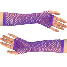 Sexy Dark Purple Long fishnet fingerless fancy dress gloves