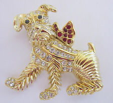KENNETH JAY LANE Figural Scottish Terrier Dog Gold and Rhinestone Brooch Pin