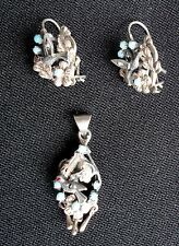 UNIQUE ANTIQUE VICTORIAN / EDWARDIAN STERLING TURQUOISE CHALIENDER BIRDS SET