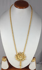 "Bollywood 14 K Gold Plated Designer 18"" Long Bridal Locket Necklace Earring set"