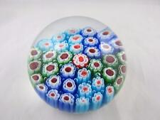Vintage Murano Art Glass Millefiori Paperweight Red White Green Canes