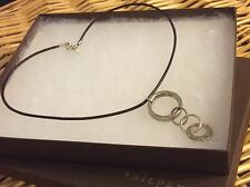 SILPADA Necklace N1821 .925 Sterling Silver 4 Linked Rings Pendant Brown Leather