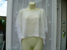 BEAUTIFUL WHITE LACEY FRINGED CAPELET / PONCHO SZ 18 EVENING / ARM COVER UP