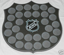 30 HOCKEY PUCKS WALL MOUNT DISPLAY BOARD Wood NHL Logo Badge Shape Plaque NEW