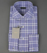New Tom Ford Blue Dress Shirt Cutaway Collar French Cuffs Slim Size 15.5 39 NWT