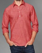 ABERCROMBIE & Fitch MEN Chambray Popover shirt In Red Chambray SIZE Small