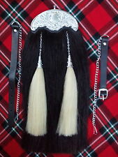 NEW HORSE HAIR SPORRAN ORIGINAL CELTIC CANTLE/KILT SPORRAN BLACK HORSE HAIR/KILT