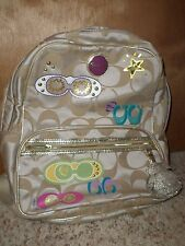 Coach 17939 Poppy Applique Signature RARE Khaki Multi BACKPACK VGUC COACH -A