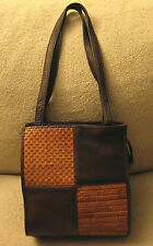 AMERICAN ANGEL Medium Mahogany Brown Knitted Patchwork Leather Tote Shoulder Bag
