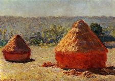 Claude Monet Haystacks End of Summer Painting Poster Fine Art Re-Print A4