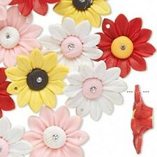 8452 Polyclay Flower Beads with Crystal 31mm PK8 **UK EBAY SHOP**