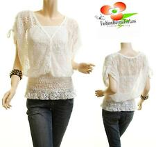 Women Boho White Crochet Eyelet Dolman Peasant Blouse Shirt Top + Free Tank Top