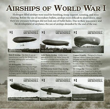 Micronesia 2015 MNH WWI Airships of First World War I 6v M/S Aviation Stamps
