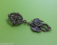 Steampunk explorer compass & wyvern dragon charm pin brooch brass tone Q53