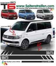 VW BUS T6 Edition 30 Seitenstreifen Aufkleber Set in schwarz Matt