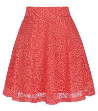 Women Floral Lace Skirt High Waist Hollow Out Mini Skirt Skater A-Line Skirt NEW