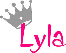 Girls Personalised Name and Princess Crown Wall Art Vinyl Sticker Decal