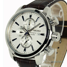 SEIKO CHRONOGRAPH LEATHER STRAP SILVER FACE SNAF51P1
