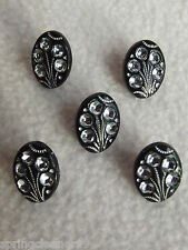 5 x BLACK DIAMANTE EFFECT OVAL SHAPED BUTTONS ~ 24L (approx 15mm x 10mm)