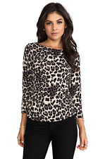NWT Rebecca Taylor Peplum Top Animal Print Womens XS Leopard  3/4 Sleeve $195