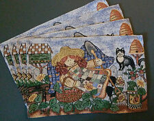 Tapestry Cloth Placemats, Set of 4 - Cat with Girl in Garden, Birdhouse, NEW!