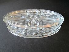 1x RARE Moon and Stars Clear Oval Lidded Jewelry Box Dish LE Smith Vintage Glass