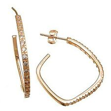 PAVE 14K ROSE GOLD VERMEIL Cubic Zirconia CZ Square HOOP EARRINGS  925/SS-25M