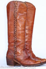 Gorgeous Vtg black label Frye braided leather campus riding boots 7.5 B !(@@)!