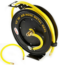 "50FT X 1/2"" Rubber Retractable Air Hose Reel Auto Rewind Automotive Compressors"