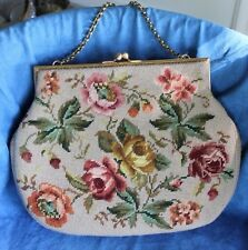 HUGE! Gorgeous 50's Vintage Roses Tapestry Needlepoint Rockabilly Hand Bag Purse