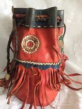 Vintage 60s American Indian Hand Made Leather Fringe Bucket Bag Hippy Boho