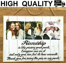 """8x6"""" PERSONALISED PHOTO HANGING PLAQUE QUOTE WOODEN FRIENDSHIP GIFT BEST FRIEND"""