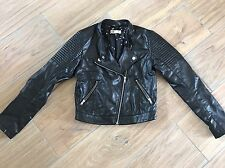 H&M Girls Black Cropped Faux Leather Jacket Age 12-13y 158cm. Hardly Worn
